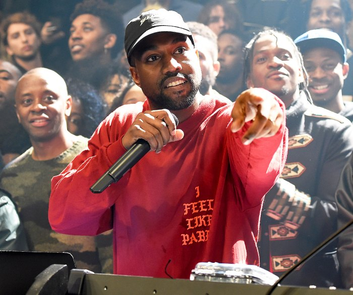 Kanye West attends Kanye West Yeezy Season 3 at Madison Square Garden on February 11, 2016 in New York City.