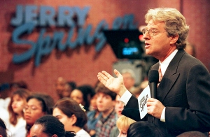 Host Jerry Springer on the set of his TV program 'The Jerry Springer Show'
