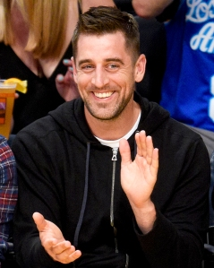 Aaron Rodgers attends a basketball game between the Los Angeles Clippers and the Los Angeles Lakers at Staples Center on April 6, 2016 in Los Angeles, California.