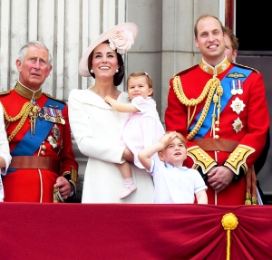 Prince Charles, Kate Middleton, Princess Charlotte, Prince George and Prince William on the balcony of Buckingham Palace following the Trooping the Colour ceremony to mark the Queen's official 90th Birthday on June 11, 2016 in London, England.