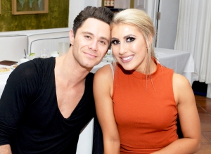 Sasha Farber and Emma Slater attend their Engagement 2016 Dinner at Fig & Olive in West Hollywood, California.