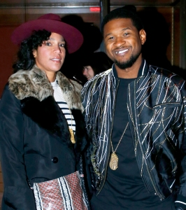 Usher and Grace Miguel attend the Haider Ackermann Menswear Fall/Winter 2017-2018 show as part of Paris Fashion Week in Paris, France.