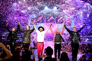 "Backstreet Boys perform during the 2017 launch of the group's residency ""Larger Than Life"" at The Axis at Planet Hollywood Resort & Casino in Las Vegas, Nevada."