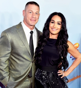John Cena and Nikki Bella at Nickelodeon's 2017 Kids' Choice Awards at USC Galen Center in Los Angeles, California.