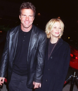 Dennis Quaid and Meg Ryan attend the premiere of 'Hurly Burly' on December 21, 1998 in Los Angeles, Califorinia.