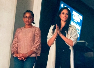 Meghan Markle and her mother Doria Radlan watch the closing ceremonies for the Invictus Games in Toronto, Ontario on September 30, 2017.
