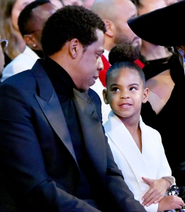 Jay Z and Blue Ivy attend the 60th Annual Grammy Awards at Madison Square Garden in New York City.