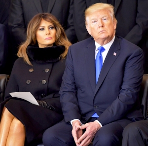 Donald Trump and Melania Trump attend the memorial service for Reverend Billy Graham in the Rotunda of the U.S. Capitol on February 28, 2018 in Washington, DC.