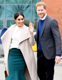 Prince Harry and Meghan Markle depart from Catalyst Inc, Northern Ireland's next generation science park on March 23, 2018 in Belfast, Nothern Ireland.
