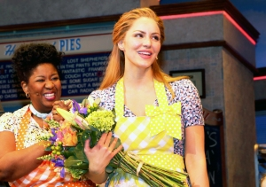 "Katherine McPhee makes her broadway debut as ""Jenna Hunterson"" in the hit musical ""Waitress"" on Broadway at The Brooks Atkinson Theatre on April 10, 2018 in New York City."
