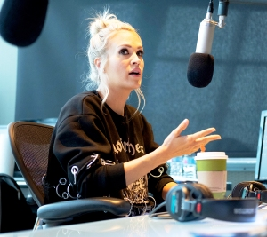 "Carrie Underwood visits ""The Highway"" at SiriusXM Nashville Studios at Bridgestone Arena on April 19, 2018 in Nashville, Tennessee."