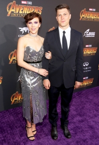 "Scarlett Johansson and Colin Jost attend the Los Angeles Global Premiere for Disney And Marvel's ""Avengers: Infinity War"" on April 23, 2018 in Hollywood, California."