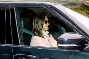 Pippa Middleton leaves Kensington Palace by car on April 24, 2018 in London, England.