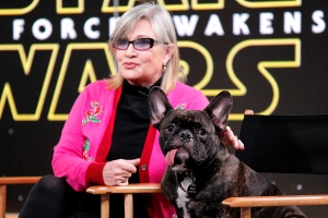 Carrie Fisher and her dog in 2015