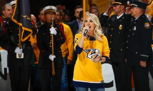 Carrie Underwood sings the National Anthem