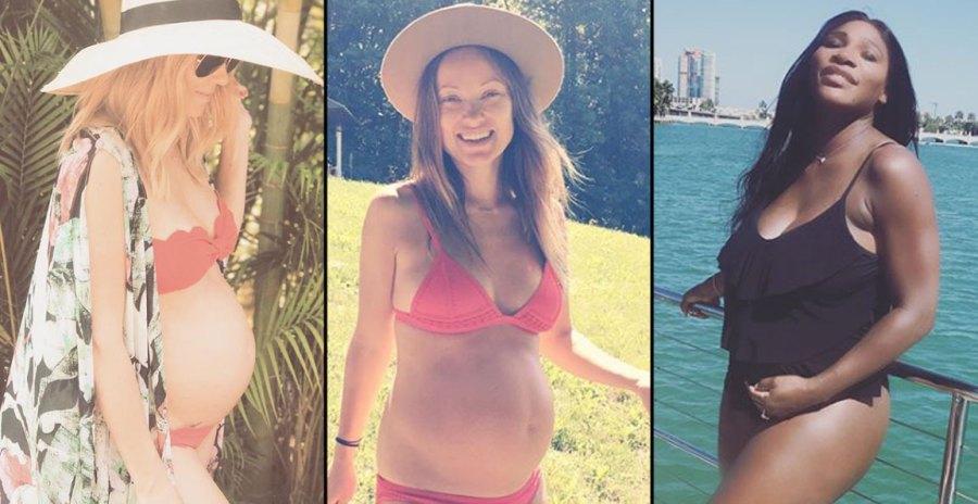 Pregnant Celebrities In Maternity Swimsuits Bikinis Pics