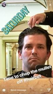 Donald Trump Jr, Saturday, Instagram, Haircut