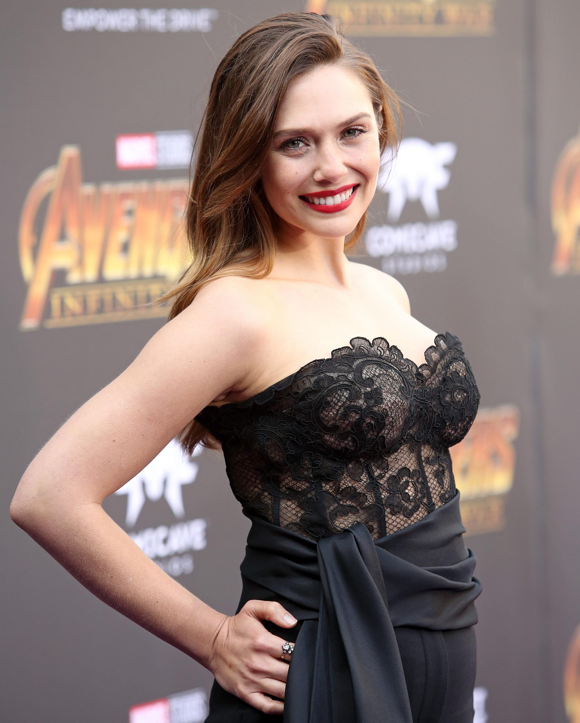 Elizabeth Olsen On Avengers Infinity War Costume Cleavage