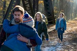 John Krasinski, Emily Blunt, Noah Jupe and Millicent Simmonds in 'A Quiet Place'