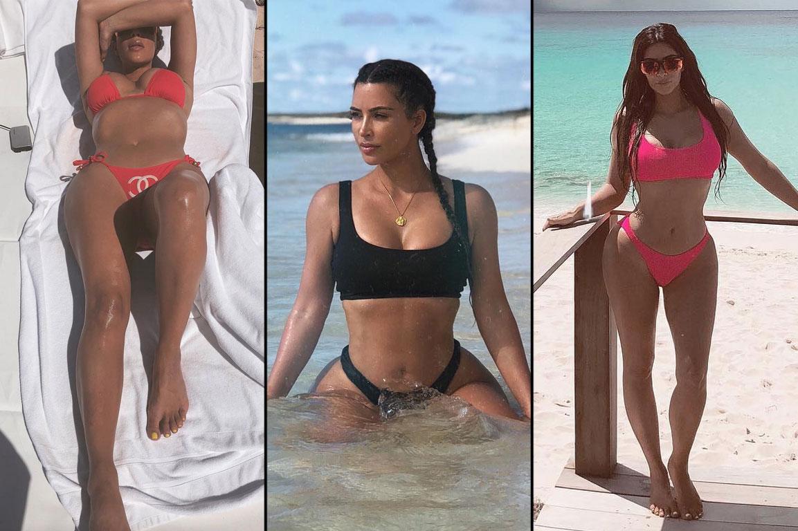 f392e3d7e8652 8 String and Square-Neck Bikinis Inspired by Kim Kardashian's Teeny Tiny  Turks and Caicos Vacay Swimwear