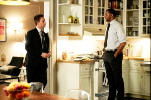 Patrick J. Adams as Mike Ross and Jordan Johnson-Hinds as Oliver Grady in 'Suits'