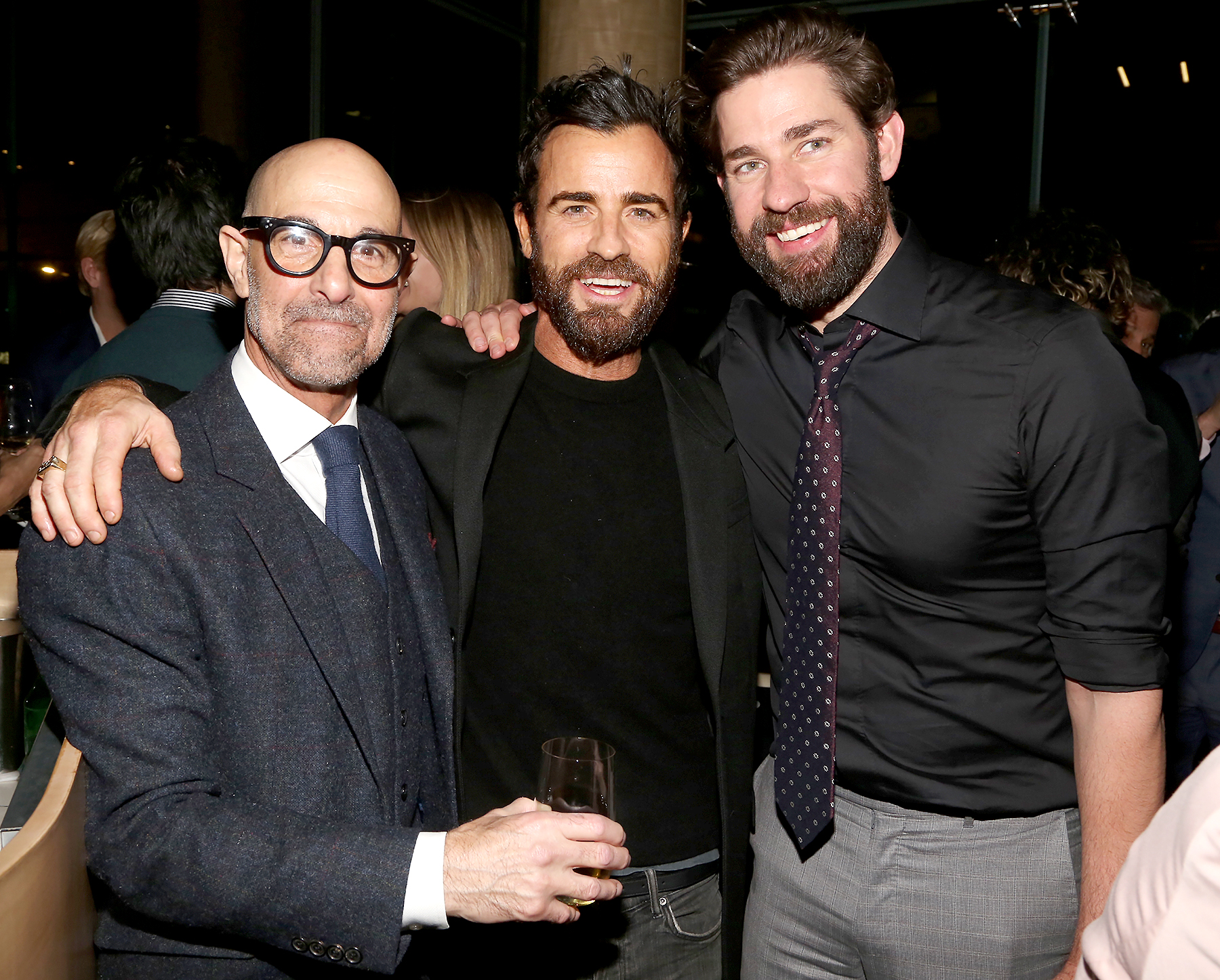 Stanley-Tucci,-Justin-Theroux-and-John-Krasinski - Stanley Tucci, Justin Theroux and John Krasinski attend the 'A Quiet Place' afterparty in New York City on April 2, 2018.