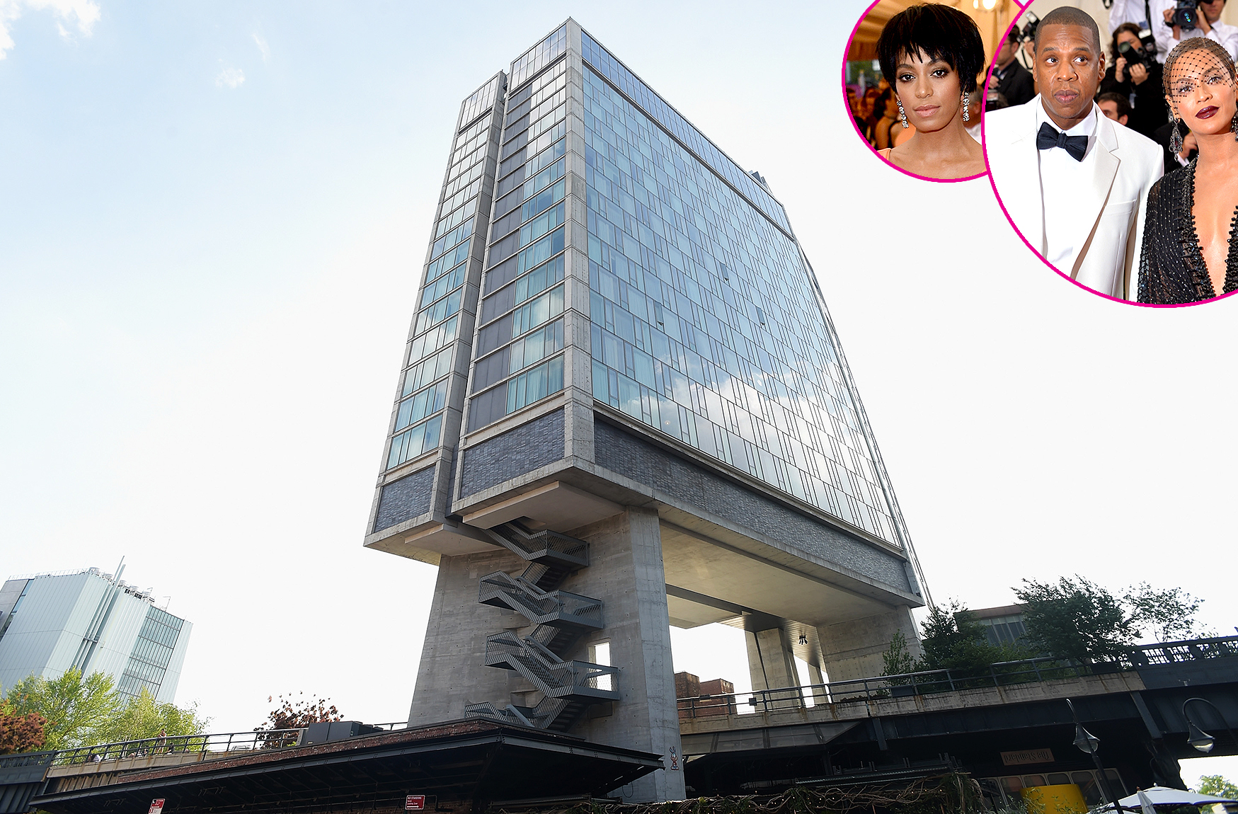 the-standard-solange-bey-jay - The penthouse lounge at the top of the hotel rolled out the red carpet for stars such as Beyoncé , Jay-Z , Solange Knowles , Frank Ocean and Emma Stone . Solange infamously attacked brother-in-law Jay-Z in an elevator at the party in a headline-making incident that was caught on video.