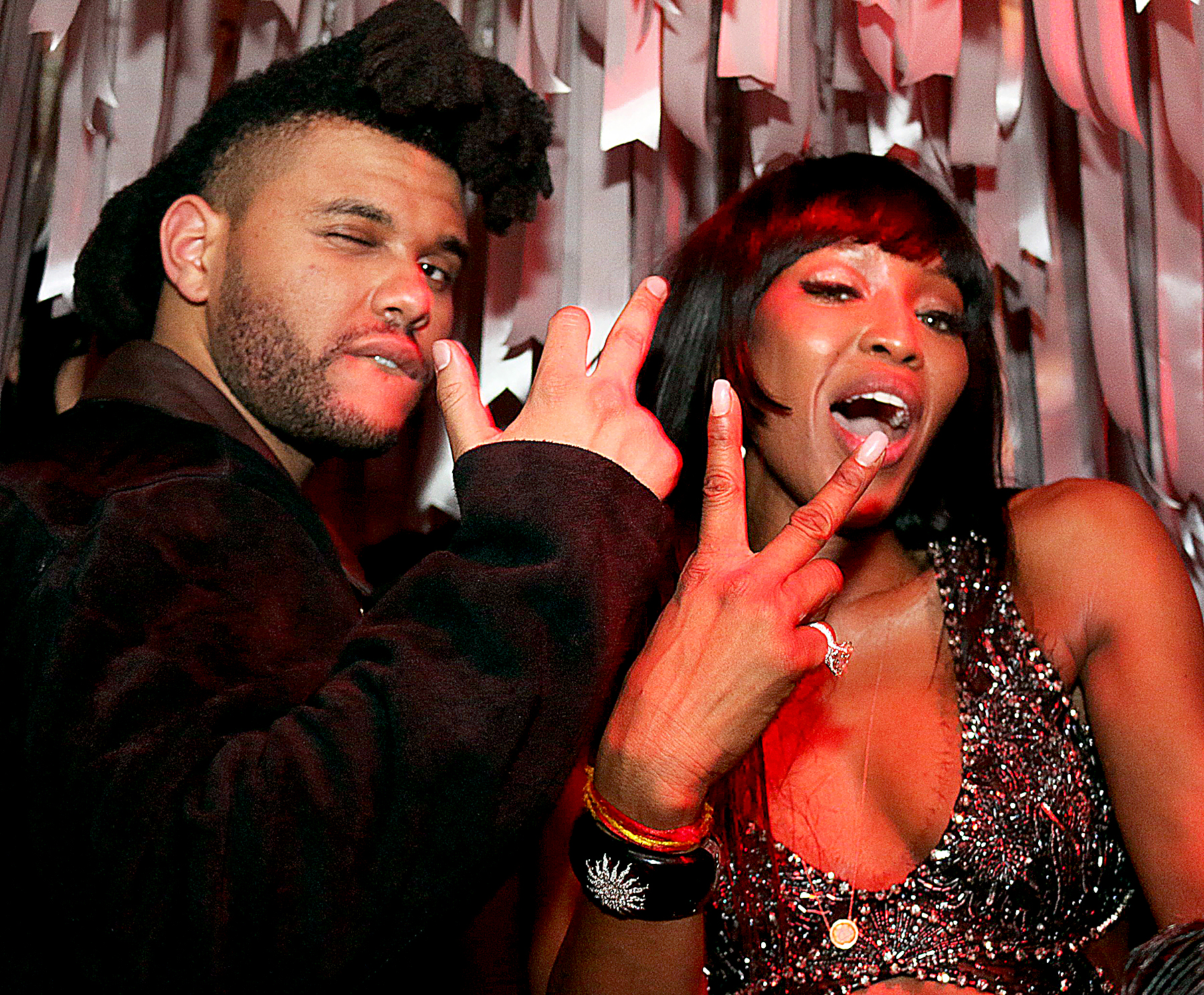 The-Weeknd-and-Naomi-Campbell - Naomi Campbell and The Weeknd partied the night away with the likes of Madonna , Justin Bieber and Bella Hadid at the glitzy club.