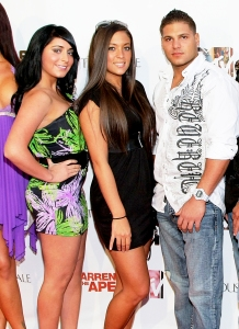 Angelina Pivarnick, Sammi 'Sweetheart' Giancola and Ronnie Ortiz-Magro attend the 2010 launch party for MTV's 'The Hard Times Of RJ Berger' and 'Warren The Ape' in West Hollywood, California.