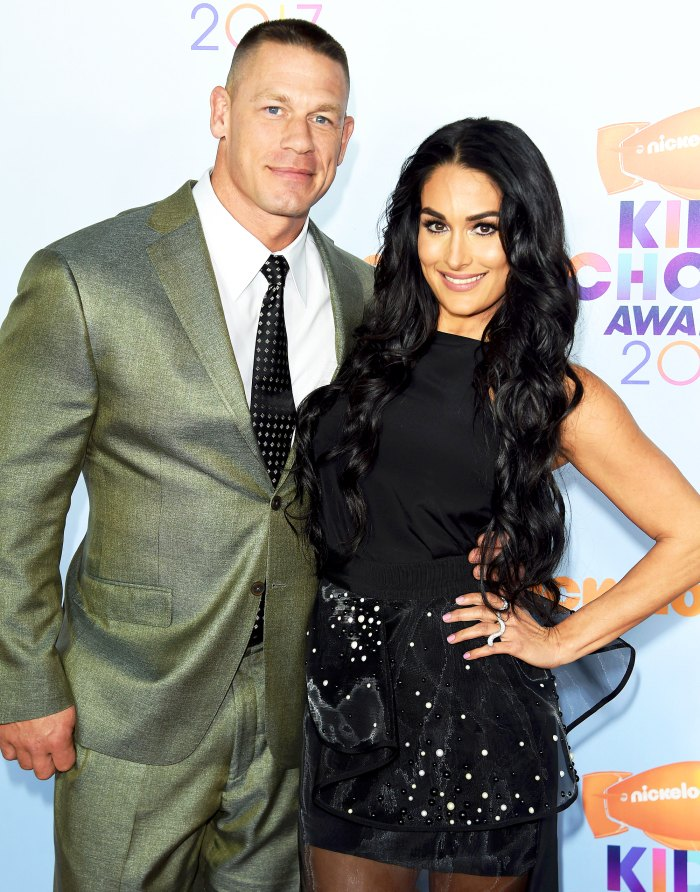 John Cena and Nikki Bella arrive at the Nickelodeon's 2017 Kids' Choice Awards at USC Galen Center on March 11, 2017 in Los Angeles, California.