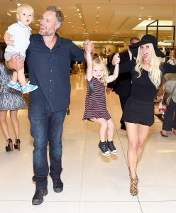 Jessica Simpson and Eric Johnson with their son Ace and daughter Maxwell attend 2014 Jessica Simpson Collection Fashion Show at Nordstrom in Los Angeles, California.