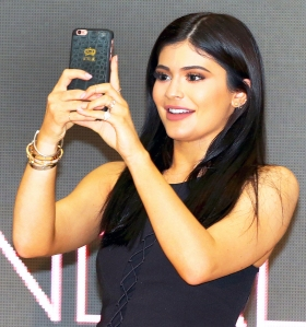 Kylie Jenner takes a selfie at Chadstone Shopping Centre in Melbourne, Australia.