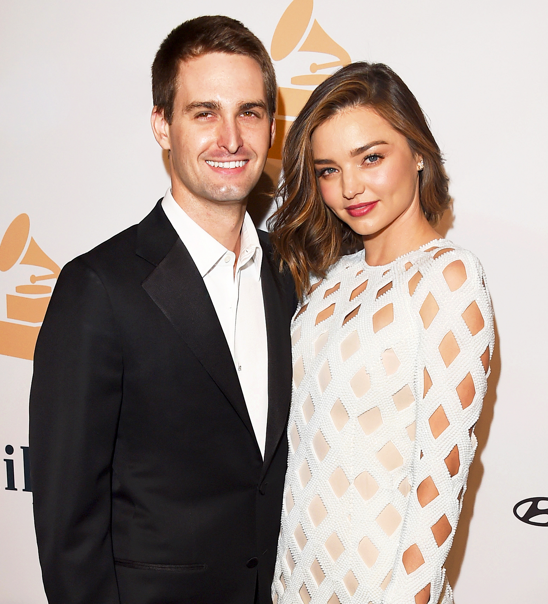 Evan Spiegel and Miranda Kerr attend the 2016 Pre-Grammy Gala and Salute to Industry Icons at The Beverly Hilton Hotel in Beverly Hills.