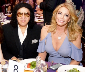 Gene Simmons and Shannon Tweed attend the 2016 Women of Influence Awards at The Wilshire Ebell Theatre in Los Angeles, California.