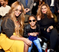 Beyonce with mother Tina and daughter Blue Ivy attend the 67th NBA All-Star Game: Team LeBron Vs. Team Stephen at Staples Center on February 18, 2018 in Los Angeles, California.