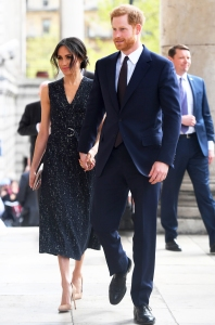 Meghan Markle and Prince Harry arrive at a memorial service at St Martin-in-the-Fields in Trafalgar Square to commemorate the 25th anniversary of the murder of Stephen Lawrence on April 23, 2018 in London, England.