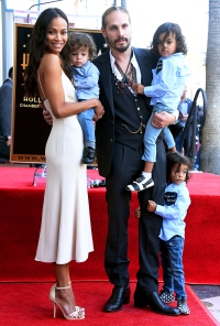 Zoe Saldana and Marco Perego with their children Bowie, Cy and Zen