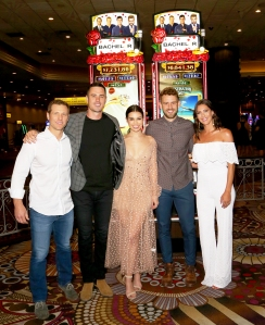 "Jake Pavelka, Ben Higgins, Ashley Iaconetti, Nick Viall and Becca Kufrin attend an unveiling of ""The Bachelor"" themed slot machine at the MGM Grand Hotel & Casino on May 17, 2018 in Las Vegas, Nevada."