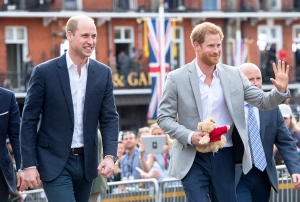 Prince Harry and Prince William, Duke of Cambridge meet the public in Windsor on the eve of the wedding at Windsor Castle on May 18, 2018 in Windsor, England.