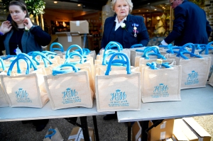 Monogrammed gift bags at Windsor Castle before the wedding of Prince Harry to Meghan Markle on May 19, 2018 in Windsor, England.