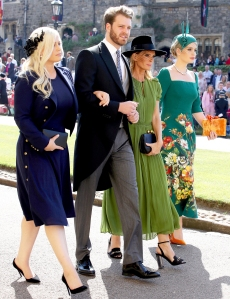 Eliza Spencer, Louis Spencer, Victoria Aitken and Kitty Spencer arrive for the wedding ceremony of Britain's Prince Harry and Meghan Markle at St George's Chapel, Windsor Castle on May 19, 2018 in Windsor, England.