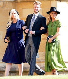 Eliza Spencer, Louis Spencer and Victoria Aitken attend the wedding of Prince Harry to Meghan Markle at St George's Chapel, Windsor Castle on May 19, 2018 in Windsor, England.