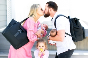 A.J. Buckley and Abigail Ochse with daughter Willow and twins Bodhi and Ranger