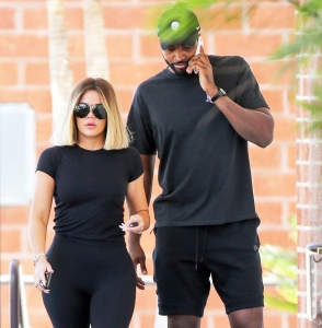 Khloe Kardashian and Tristan Thompson step out in Los Angeles, California on August 11, 2017.