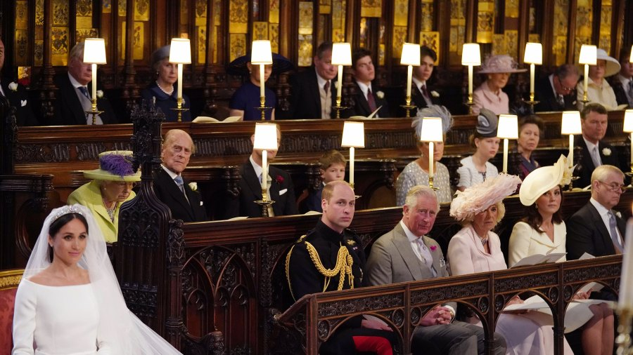 Britain's Prince Harry Meghan Markle (L) in St George's Chapel, Windsor Castle for her wedding to Britain's Prince Harry