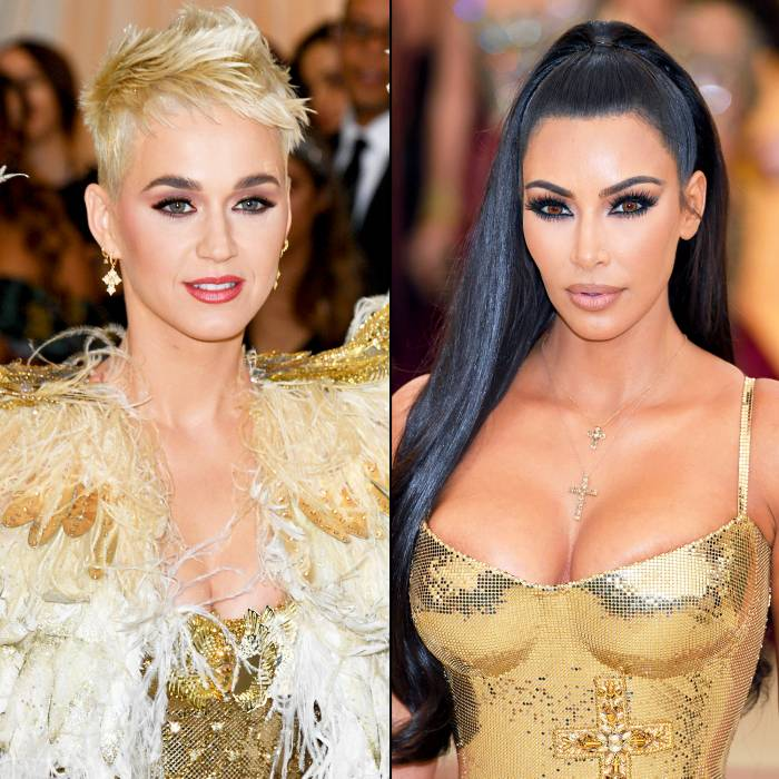 Katy Perry and Kim Kardashian attend the Heavenly Bodies: Fashion & The Catholic Imagination Costume Institute Gala at The Metropolitan Museum of Art on May 7, 2018 in New York City.
