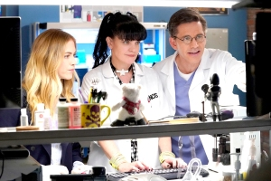 Emily Wickersham, Pauley Perrette, and Brian Dietzen on NCIS.