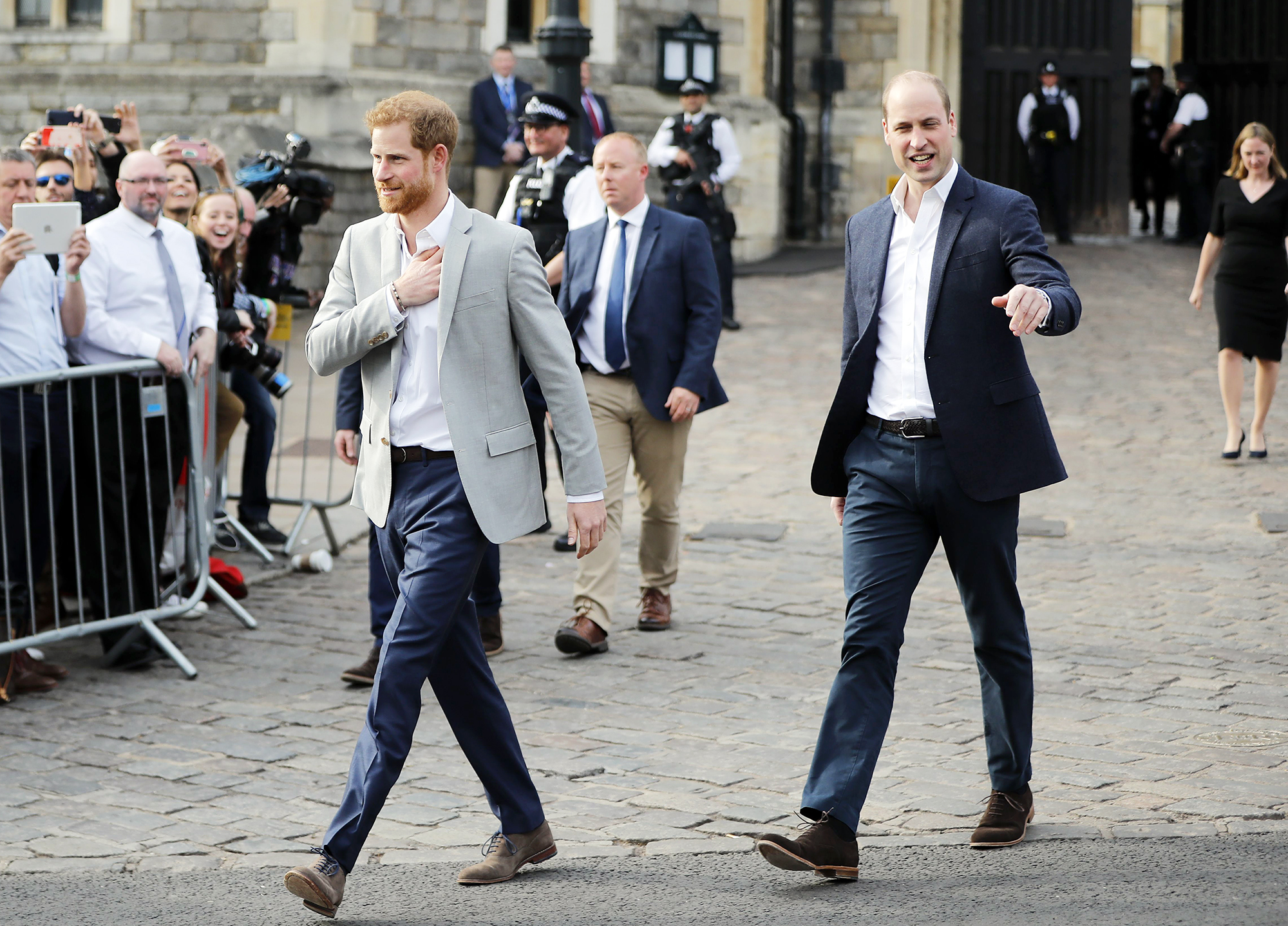 Prince Harry Prince William Greet Well Wishers Outside Windsor