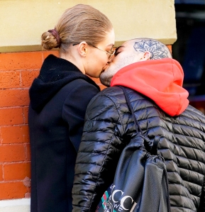 Gigi Hadid and Zayn Malik kiss on April 29, 2018 in New York City.