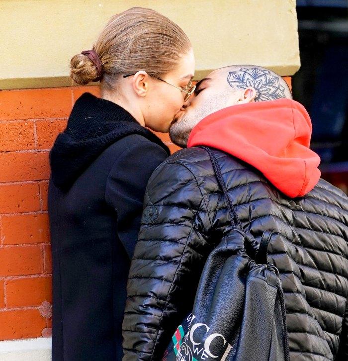 Gigi Hadid and Zayn Malik kiss on April 29, 2018 in New York City.